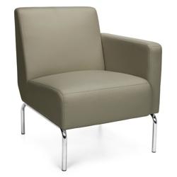 Modular Left Arm Polyurethane Lounge Chair with Chrome Legs, 75770