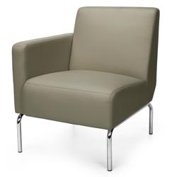 Modular Right Arm Polyurethane Lounge Chair with Chrome Legs, 75772