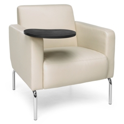Modular Polyurethane Lounge Chair with Chrome Legs and Tablet, 75776