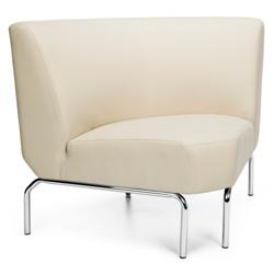 Modular 90 Degree Armless Polyurethane Lounge Chair with Chrome Legs, 75779