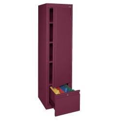 Four Shelf Slim Storage Cabinet with File Drawer, 31218