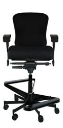 "Dauerhaft 24/7 Two-Step Fabric Stool with Flip Arms - 21""W Seat, 57256"