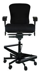 "Dauerhaft 24/7 Two-Step Fabric Stool with Flip Arms - 23""W Seat, 57268"