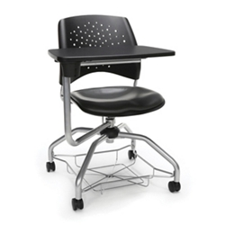 Plastic Back Vinyl Seat Tablet Arm Student Chair with Under-Seat Basket, 51723