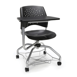 Plastic Tablet Arm Student Chair with Under-Seat Basket, 51722