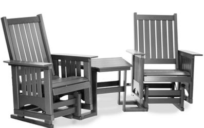 Maintenance-Free Outdoor Glider Chair Set with Center Table, 83081