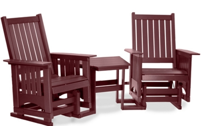 Maintenance-Free Outdoor Glider Chair Set with Table and Umbrella Hole, 83082