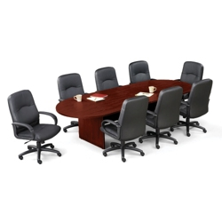 Contemporary 10 Conference Table With 8 Leather Chairs 40821