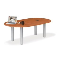 8' W Racetrack Conference Table with Data Ports, 40955