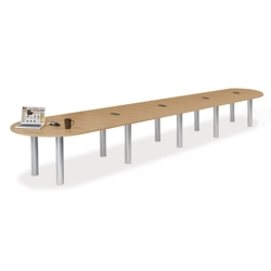 20' W Racetrack Conference Table with Data Ports, 40959