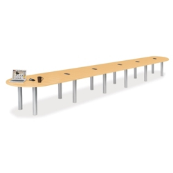 24' W Racetrack Conference Table with Data Ports, 40971
