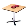 "Breakroom Table with Chrome Column & Black Base - 30"" Square, 44077"