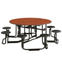 "60"" Round Table with Black Frame and 8 Seats, 44522"
