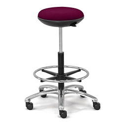 Fabric Adjustable-Height Rolling Stool with Footring and Memory Foam Seat, 50137