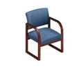 Heavy-Duty Vinyl Sled Base Open Back Conference Chair with Arms, 52157