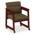 Print Fabric Tapered Arm Chair with Casters, 52319