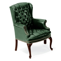 Compact Traditional Leather Wing Chair, 53308
