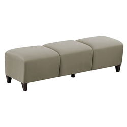 "Parkside Three Seat Bench in Faux Leather or Fabric - 43""W, 53626"