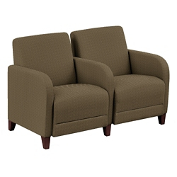 "Parkside Two Seater with Center Arm in Polyurethane or Fabric - 51.5""W, 53628"