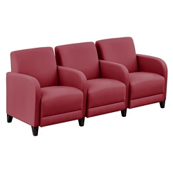 """Parkside Three Seater with Center Arms in Polyurethane or Fabric - 75.5""""W, 53630"""