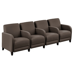 """Parkside Four Seater with Center Arms in Polyurethane or Fabric - 99.5""""W, 53631"""