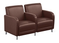 """Parkside Two Seater with Center Arm in Faux Leather - 51.5""""W, 54975"""