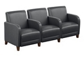 """Parkside Three Seater with Center Arms in Faux Leather - 75.5""""W, 54979"""