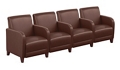 """Parkside Four Seater with Center Arm in Faux Leather - 51.5""""W, 54980"""