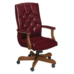 Traditional Leather High Back Chair, 55422