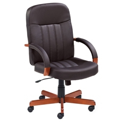 Executive Bonded Leather Chair with Wood Accents, 55553