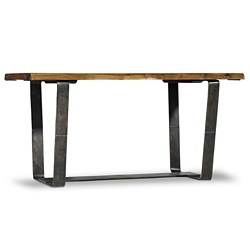 "Live Edge Writing Desk with Steel Frame - 60""W, 14379"