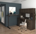 Reversible L-Desk with Adjustable Height Return and Hutch, 14704