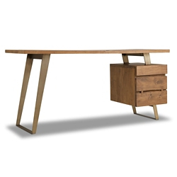 """Solid Wood Single Pedestal Writing Desk with Butterfly Joinery - 54""""W, 14402"""