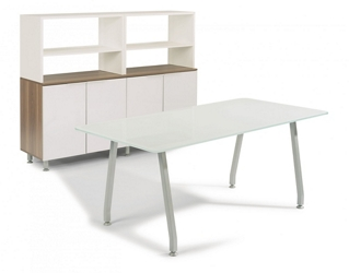 "72""W Glass Desk with Storage, 14649"