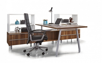 "Desk Set with Storage - 72""W x 108""D, 14533"