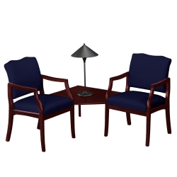 Two Solid Fabric Chairs with Corner Table, 75007