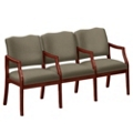Three Seater with Center Arms in Print Fabric or Vinyl, 75016