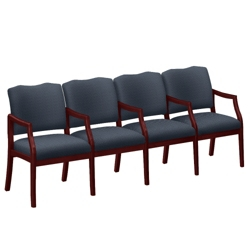 Spencer Four Seater with Center Arms in Print Fabric or Vinyl, 75017