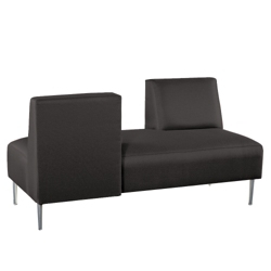 Armless Lounge Sofa with Opposing Backs in Fabric, 75314