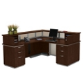 Frosted Glass Panel Reception Desk with Left Return - Ready to Assemble, 75336