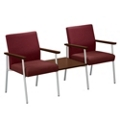Uptown Two Chairs with Center Table Set in Premium Upholstery, 75484