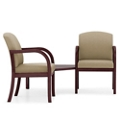 Two Vinyl Guest Chairs with Corner Table, 75516