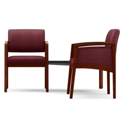 Two Panel Arm Guest Chairs with Connecting Corner Table Set in Fabric, 75526
