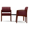 Two Panel-Arm Guest Chairs with Connecting Corner Table Set in Fabric, 75526