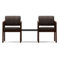 Two Panel Arm Guest Chairs with Connecting Center Table Set in Fabric, 75527
