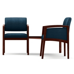 New Castle Two Panel Arm Vinyl Guest Chairs with Connecting Corner Table, 75541