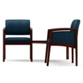 Two Panel-Arm Guest Chairs with Connecting Corner Table Set in Vinyl, 75541