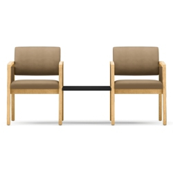 New Castle Two Panel Arm Vinyl Guest Chairs with Connecting Center Table, 75542