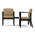 Two Vinyl Guest Chairs with Connecting Corner Table Set, 75573