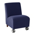 Armless Guest Chair with Casters in Fabric, 75580